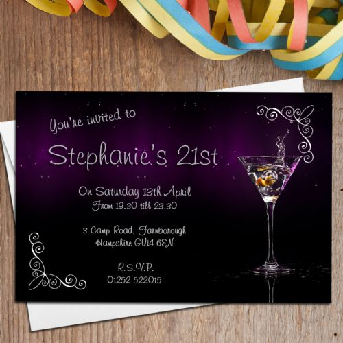 10 Personalised Cocktail Birthday Party Invitations N138